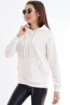 Kadın Beyaz Cep Detaylı İçi Pamuklu Sweatshirt