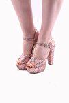 Kadın Abiye Ayakkabı Simli Altın