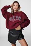 Kadın Bordo Nakışlı Kapüşonlu Sweatshirt Mg812