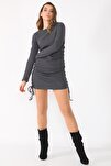Kadın Gri Yanları Büzgülü Kaşkorse Elbise