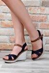 Lacivert Keten Kadın Sandalet 37701