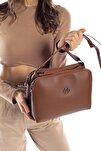 Aynı Butikte 2.Ürün 1 TL  Taba Kadın Beş Gözlü Çok Bölmeli Çapraz Çanta Postacı  ve Omuz Çantası