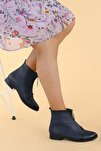 Kadın Lacivert Cilt Fermuarlı Bot Ayakkabı
