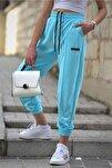 Kadın Neon Mavi Mad Girls Jogger Eşofman Altı Mg303
