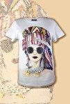 Kadın Beyaz Taşlı Baskılı Ince Detaylı Zincir Ve Taş Işlemeli Pamuklu Frida T-shirt