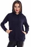 Kadın Lacivert Cep Detaylı İçi Pamuklu Sweatshirt