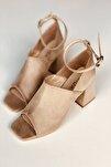 Ten Süet Geniş Bantlı Topuklu Ayakkabı