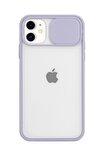 Iphone 11 Kamera Slayt Korumalı Lila Şeffaf Telefon Kılıfı