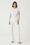 Kadın Straight Fit Beyaz Yüksek Bel Jean Pantolon 1078442