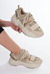 Kadın Bej Sneaker Dolgu Topuklu Spor Ayakkabı Cakir