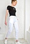 Kadın Beyaz Paçası Lastikli İki İplik Eşofman Altı Alc-Y2933