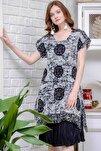 Kadın Siyah-Beyaz Bohem Dev Mühür Desenli Astarlı Tülbent Elbise M10160000EL97127