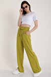 Kadın Fistik Yeşili Bel Lastikli Kemerli Salaş Pantolon  Mdt5181