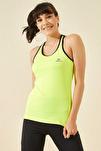 Omuz Detay Neon Sarı Micro Kadın Sporcu Atlet T06BY-97095