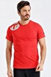 Erkek Kırmızı Pamuklu Bisiklet Yaka T-shirt