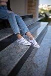 Mor Çiçekli Beyaz Kadın Spor Ayakkabı