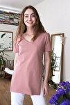 Gül Kurusu V Yaka Asimetrik Örme T-Shirt TWOSS20TS0927
