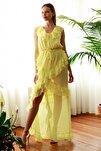 Sarı Volanlı  Abiye & Mezuniyet Elbisesi TPRSS20AE0277