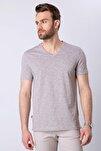 Erkek Vizon Slim Fit V Yaka T-Shirt