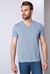 Erkek Mavi Slim Fit V Yaka T-Shirt