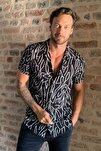 Siyah Erkek Regular Fit Apaş Yaka Desenli Kısa Kol Dökümlü Gömlek TMNSS20GO0577