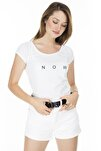Yazı Detaylı Havuz Yaka T Shirt KADIN T SHİRT 5411011