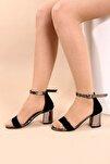 Siyah Süet Kadın Topuklu Ayakkabı 2013-05-1604