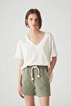 Kadın Taş Rengi Basic Oversize Düğümlü Örgü T-Shirt 05236324