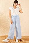 Kadın Buz Mavisi Beli Kuşaklı Bol Paça Viskon Pantolon 10061050