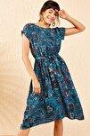 Kadın Mavi Kısa Kollu Etnik Desen Beli Lastikli Midi Boy Elbise 10041008