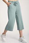 Kadın Mint Yeşil Bel Lastikli Bağlamalı Kısa Pantolon Mdt5979