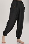 Kadın Siyah Bel Lastikli Salaş Pantolon Mdt6144