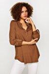 Kadın Latte Kaçık Yaka Uzun Kollu T-Shirt 60023 U60023