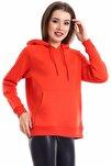 Kadın Turuncu Cep Detaylı İçi Pamuklu Sweatshirt