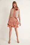 Kadın Somon Çiçekli İnci Düğmeli Triko Ceket