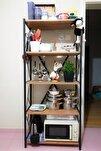 Metal Mutfak Rafı 5 Raflı Mutfak Düzenleyici Raf Mikrodalga Rafı Tencere Tabak Rafı Baharatlık