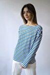 Kadın Lacivert Çizgili Uzun Kollu Kayık Yaka T-shirt
