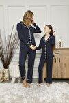 Kadın Lacivert Puantiyeli Pijama Takımı