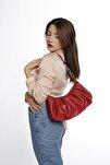 Kadın Kırmızı Pileli Omuz Çantası