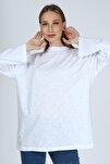 Kadın Beyaz Uzun Kollu Bisiklet Yaka Basic Oversize T-shirt