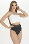 Kadın Yüksek Bel Lazer Kesim Külot Beli Dantel Tanga 3 Lü Paket Set
