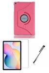 Samsung Galaxy Tab S6 Lite P610 Uyumlu Pembe Dönerli Tablet Kılıf Seti (10.4 inç)