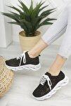 Kadın Siyah Dantelli Bağcıklı Yumuşak Ortopedik Taban Sneaker