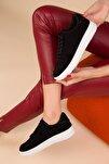 Siyah Süet Kadın Sneaker 14361