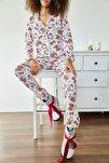 Kadın Beyaz Kedi Baskılı Örme Pijama Takımı 1KZK8-11024-08