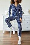 Kadın Lacivert Puantiyeli Örme Pijama Takımı 1KZK8-11024-75