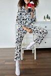 Kadın Beyaz Panda Baskılı Örme Pijama Takımı 1KZK8-11024-01