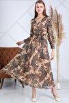 Kadın Etnik Krem Renk Etnik  Desen Kruvaze Yaka Büyük Beden Şifon Elbise