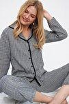 Kadın Siyah Ekose Desenli Gömlek Yaka Pijama Takım ALC-X5532