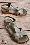 Hakiki Deri Haki Kadın Sandalet K05809926803